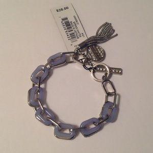 Guess Silver Tone Light Blue Links Bracelet